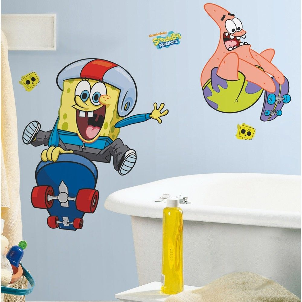 New GIANT SPONGEBOB SKATEBOARDING WALL DECALS Bedroom Stickers ...