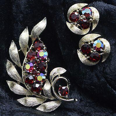 Vintage Signed Lisner Red Aurora Borealis Stones Brooch and Screw On Earrings Set