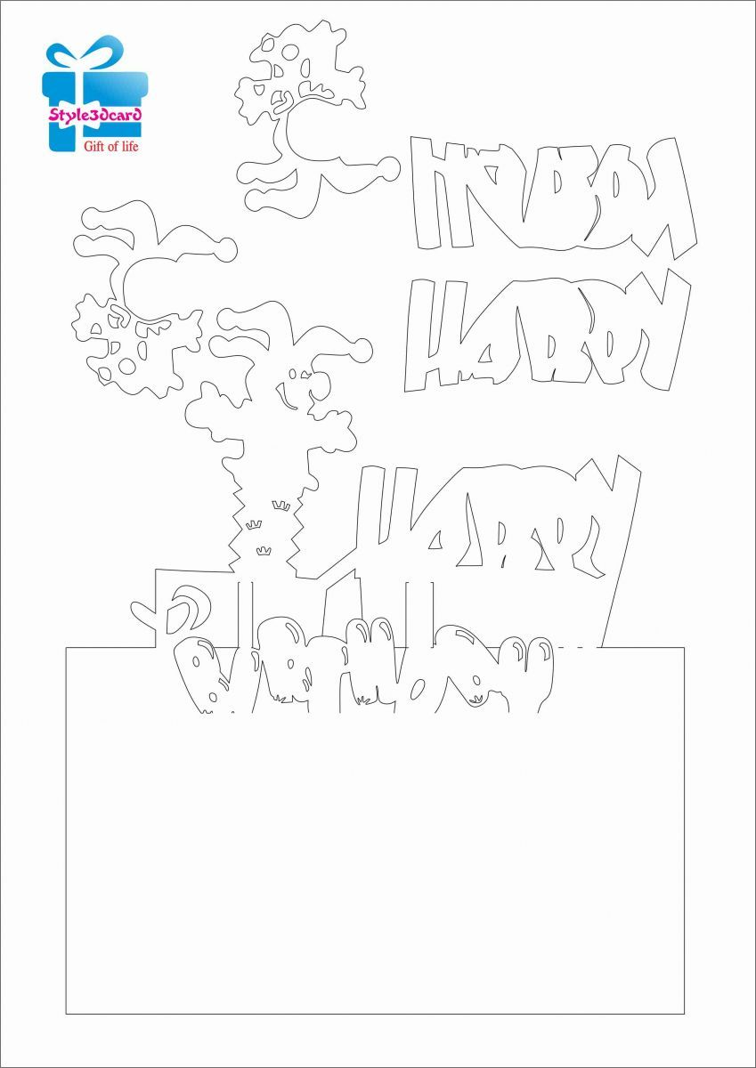 Happy birthday Clown Pop Up greeting card/ Kirigami pattern 2 ...