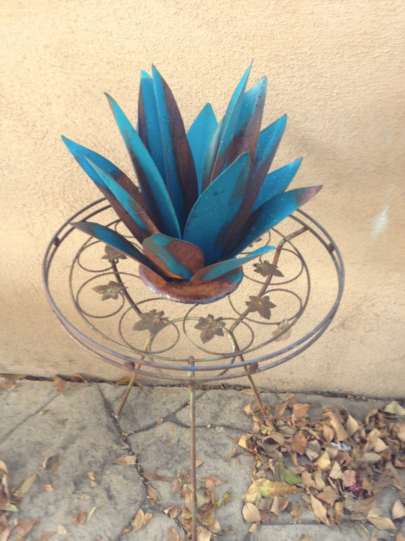 blue baby tequila agave, metal yard art, metal garden sculpture