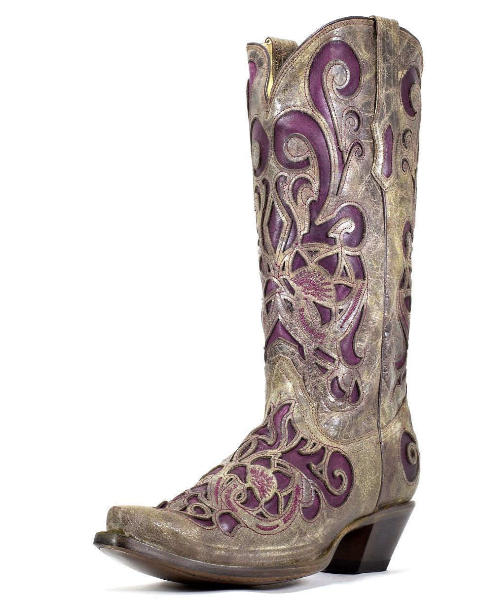 Corral Women's Brown Crater/Purple Inlay Boot - R1081 | Shoes are ...