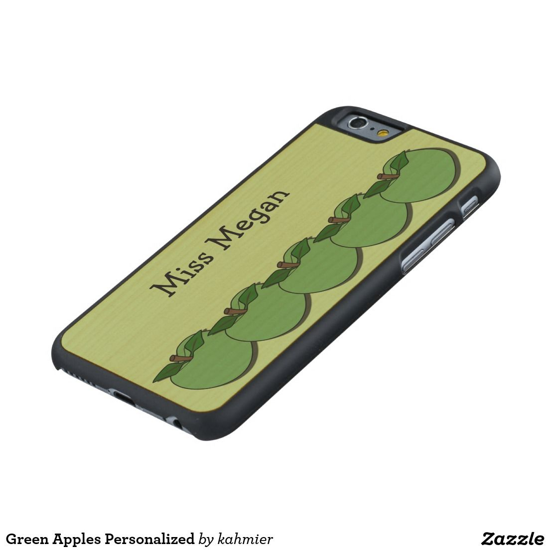 Green Apples Personalized Carved® Maple iPhone 6 Case