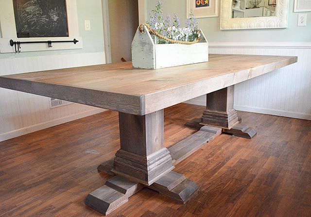 98 Long X 44 Wide Double Pedestal Table Buildlikeagirl Shanty2chic Pedestal Dining Room Table Pedestal Table Diy Double Pedestal Dining Table