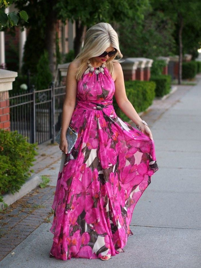 Summer Beach Wedding Guest Dresses With Floral Chiffon