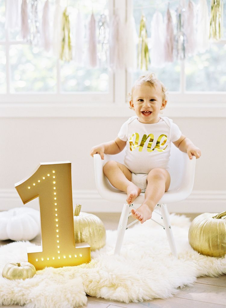 beautiful gold, white, modern first birthday and cake smash baby ...