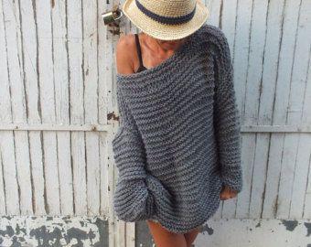 Largo della maglia maglionegrigio spalla grosso maglione