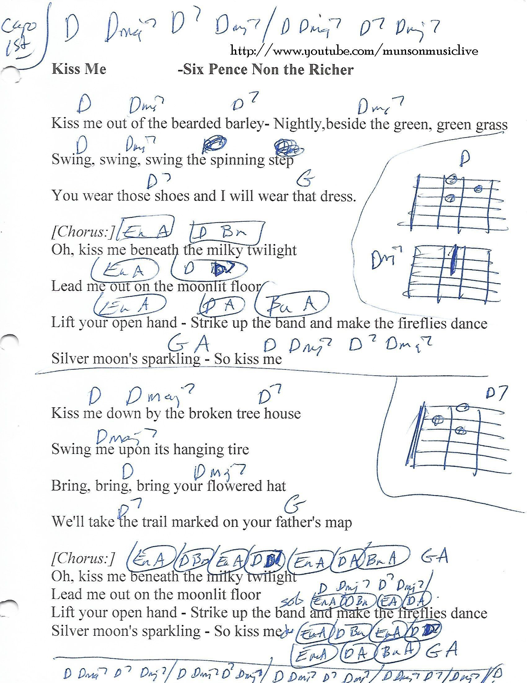 Kiss Me Sixpence None The Richer Guitar Chord Chart Chords