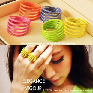 0,11 euro excl shipping to enter, receiving $5 coupons for free! Fashion candy color neon punk spring spiral ring female men jewelry rings A11