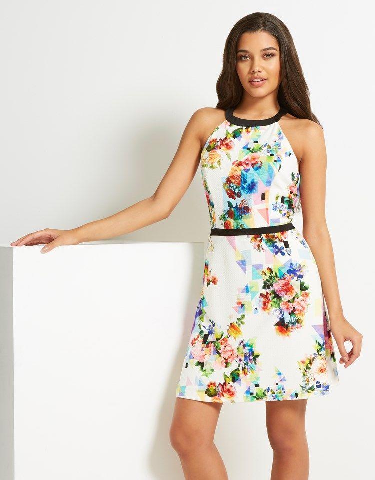 44011de4aa4 Naf Naf Belted Print Halter Dress