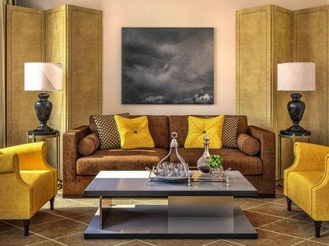 Salas en color amarillo y marrón - Ideas de salas con estilo ...