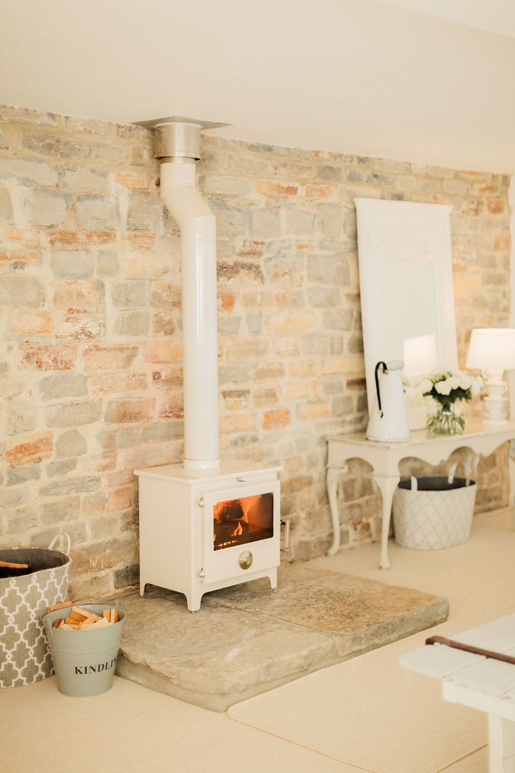 A beautiful Bijou Home Tour - What A Wonderfully Lovely, Timeless Wood Stove Done Up In Fresh