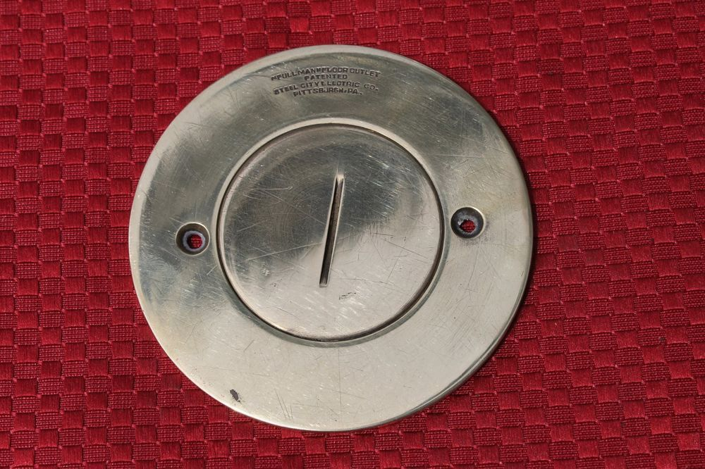 #Vintage #Brass #Round #Floor #Outlet #Cover   3 1/