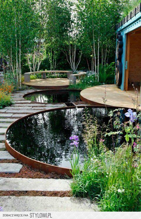 Ronde vijver corten stalen rand cortenstaal pinterest tuin vijvers en tuinen - Kleine tuin zen buiten ...