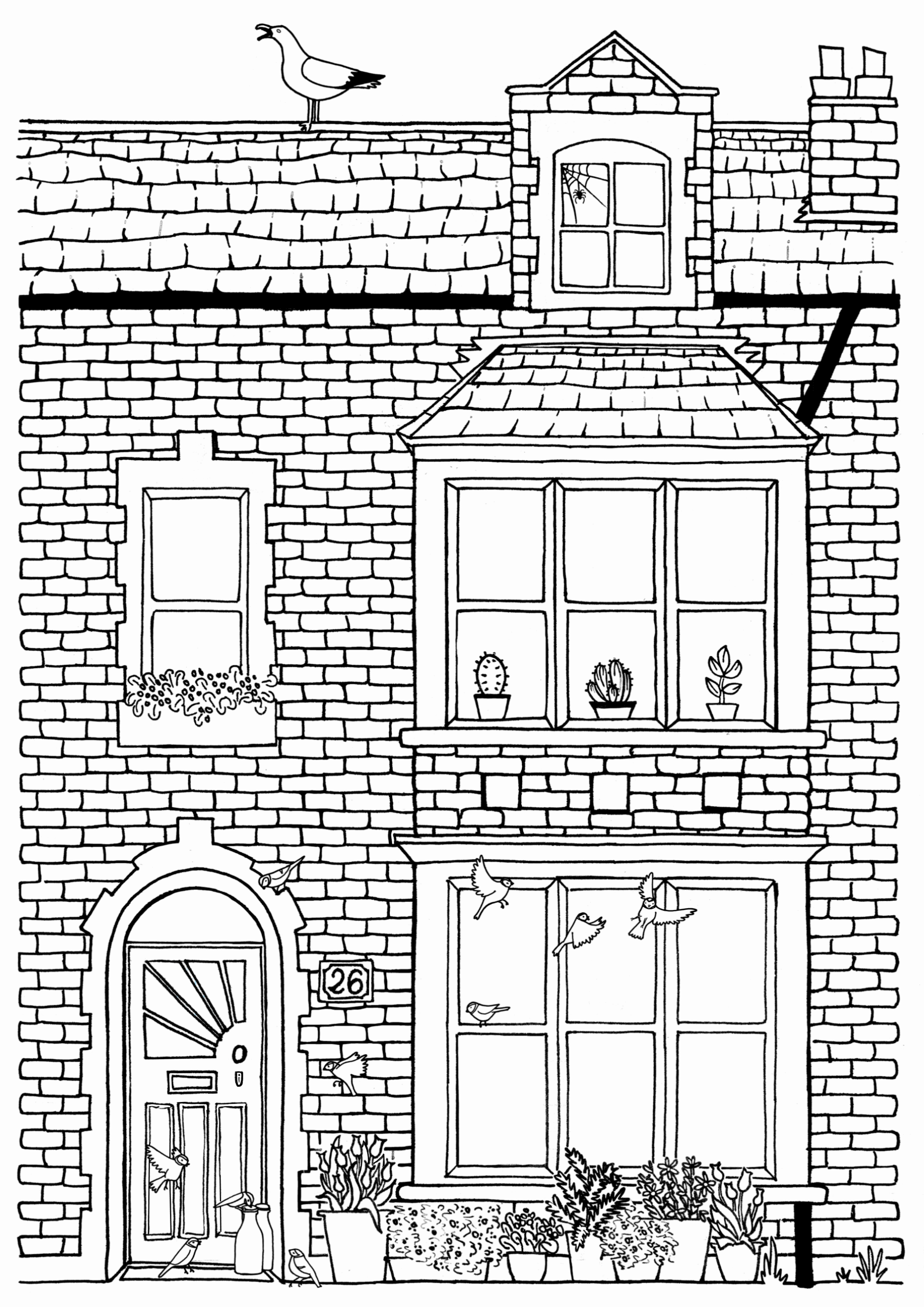 House Colouring Page No 26 Line Drawing Download Print Colour Play In 2020 House Colouring Pages Coloring Pages Victorian Terrace House