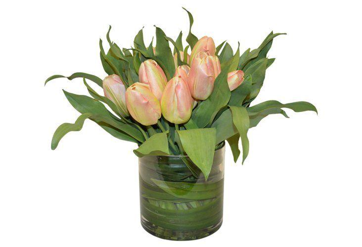19 Peach Tulips In Vase Faux Tulips In Vase Tulips Arrangement Artificial Floral Arrangements