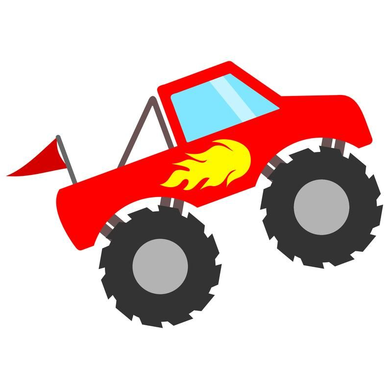 Red Monster Truck SVG File with Flames and Flag, Monster Truck Shirt SVG Design, Monster Truck Clipart, Monster Truck Printable PDF