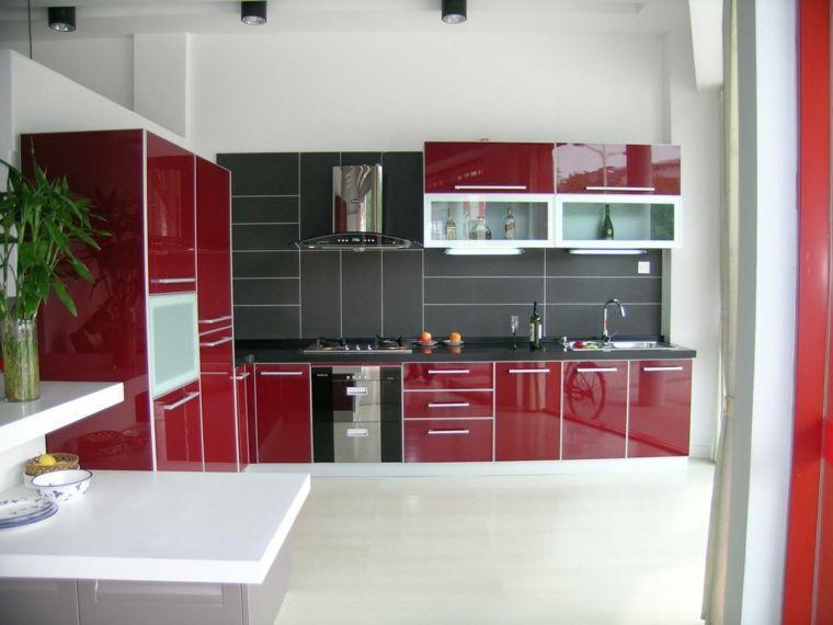 muebles cocina rojos brillantes