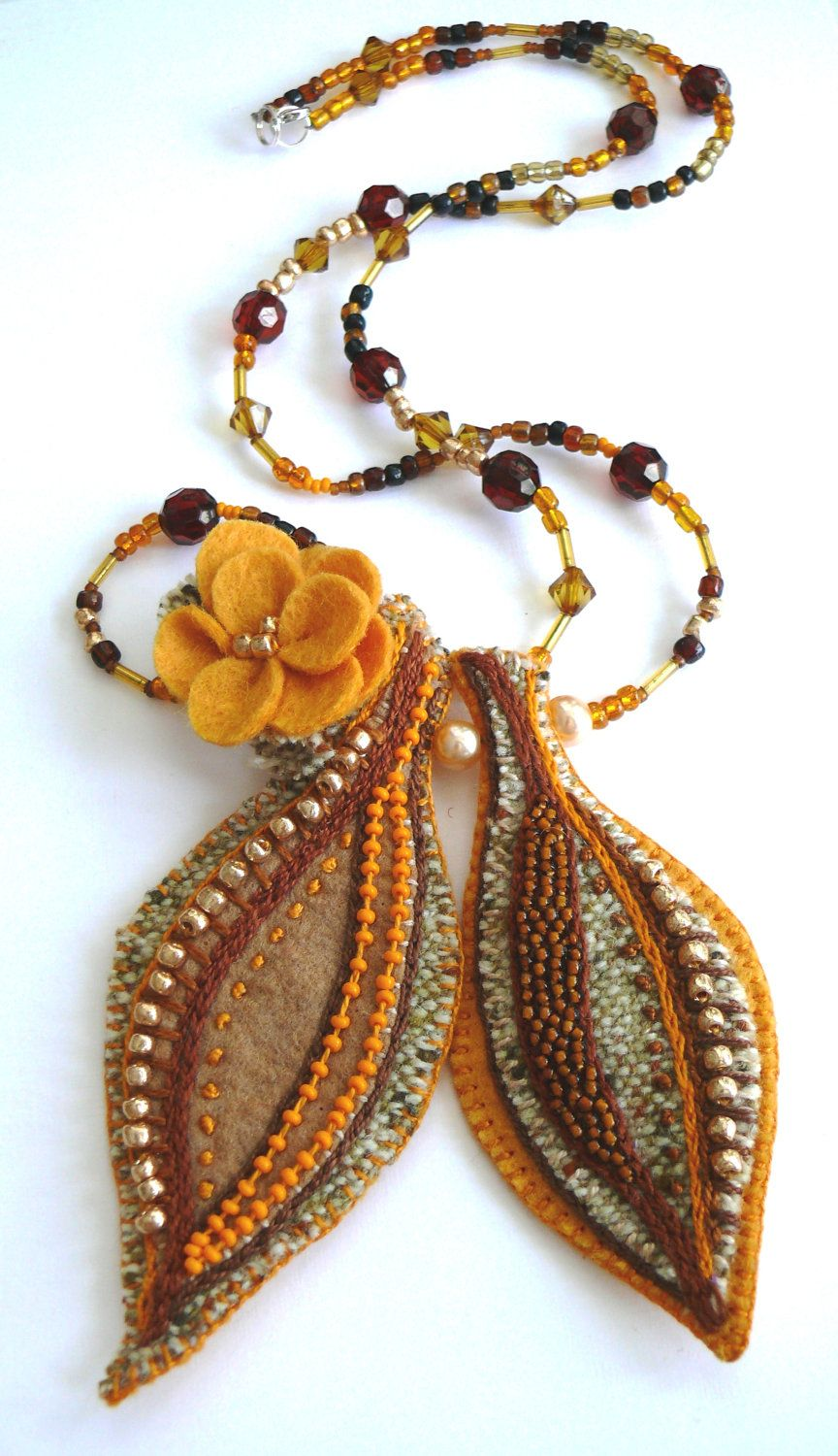 Autumn felt leaves with yellow rose pendant necklace brown and