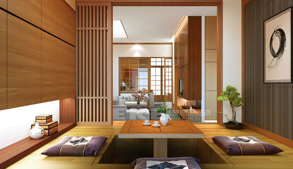 Tuananh Ekeu0027s Oriental Sunken Dining In Wood With Bonsai And View To Bamboo  And Ricepaper Doors