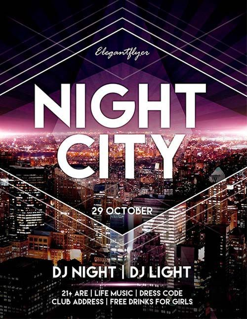 Free Night City Flyer Psd Template  Dm  Leaflet