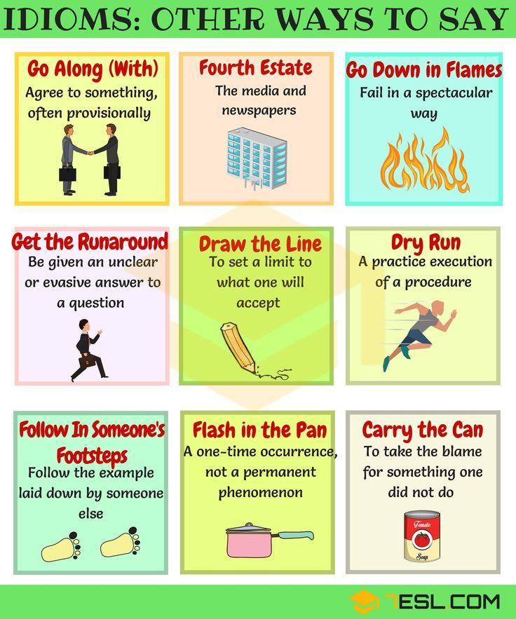 List Of 50 Common English Idioms English Idioms English And
