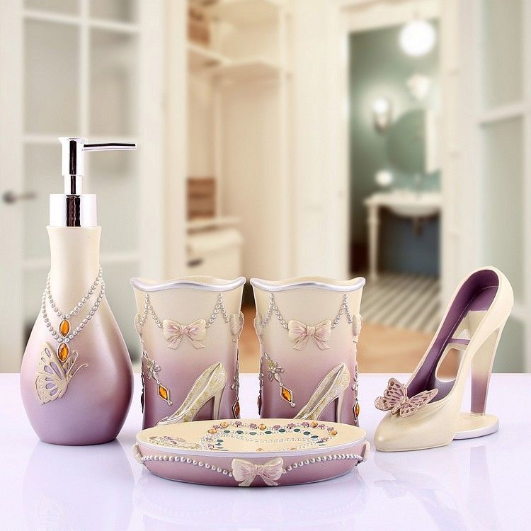 Charmant Accessory High Heels Bathroom Accessories Lady Sets Modern 5pcs Soap Holder  #Unbranded