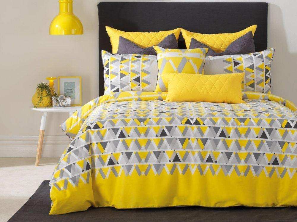 New Bianca Floyd Queen Size Quilt Doona Cover Set Yellow Charcoal