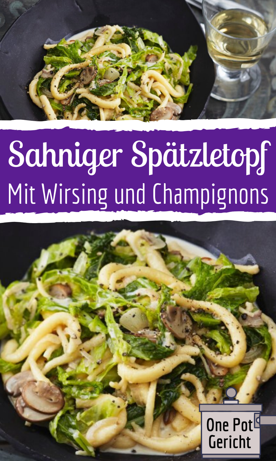 Photo of Fast spaetzle stew with savoy cabbage and mushrooms