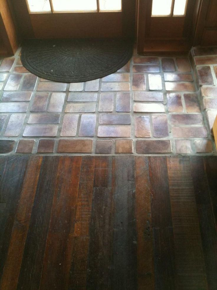 Tile Floor Designs For Living Rooms: Awesome Tile Entryway With Wood Floor