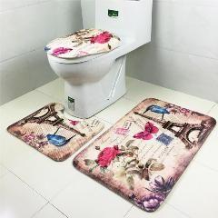 3pcs Eiffel Tower Design Rug Non Slip Bath Mats Flannel Memory