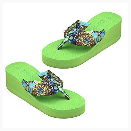 Mimgo Summer Soft Women Wedge Sandals Flip Flops Flat Platform Slippers Beach (Green)