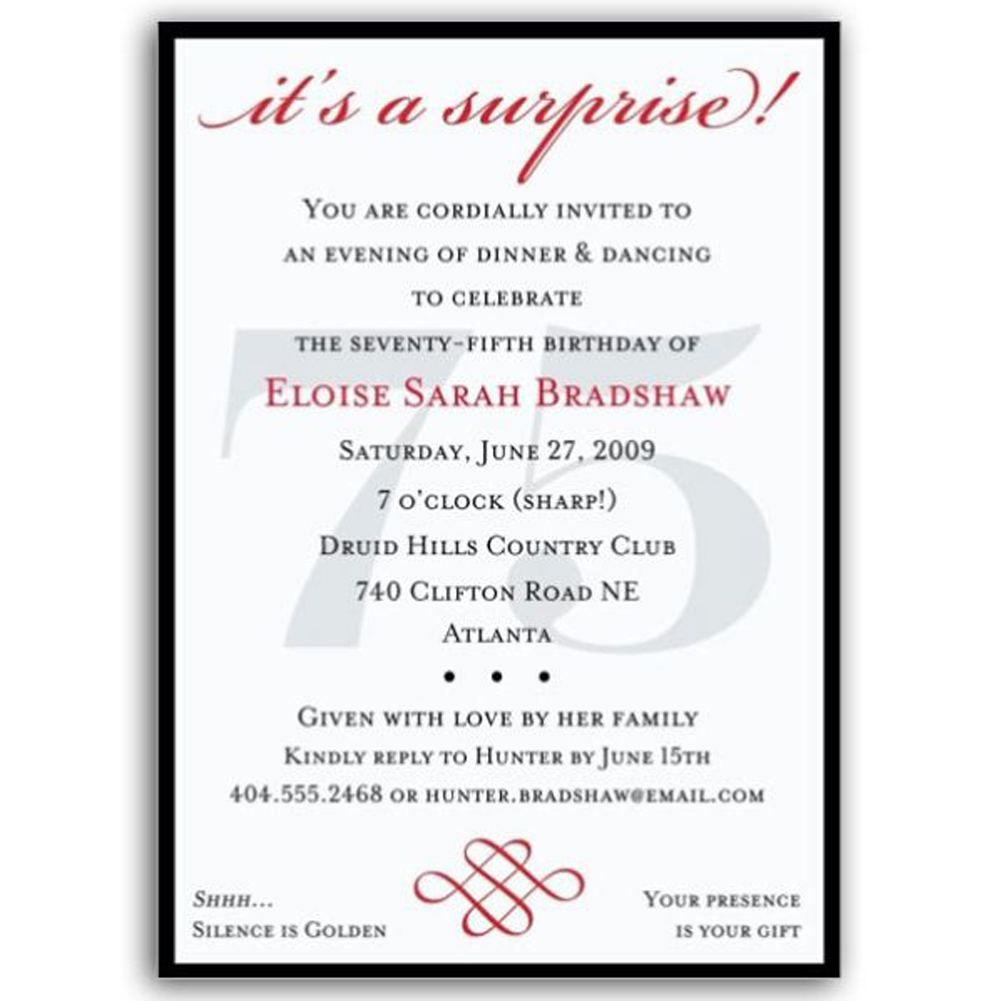 Surprise 75th Birthday Invitations Wording Templates