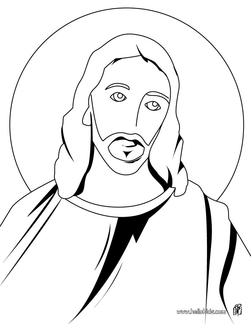 coloring cartoon easter face holy face of jesus christ coloring