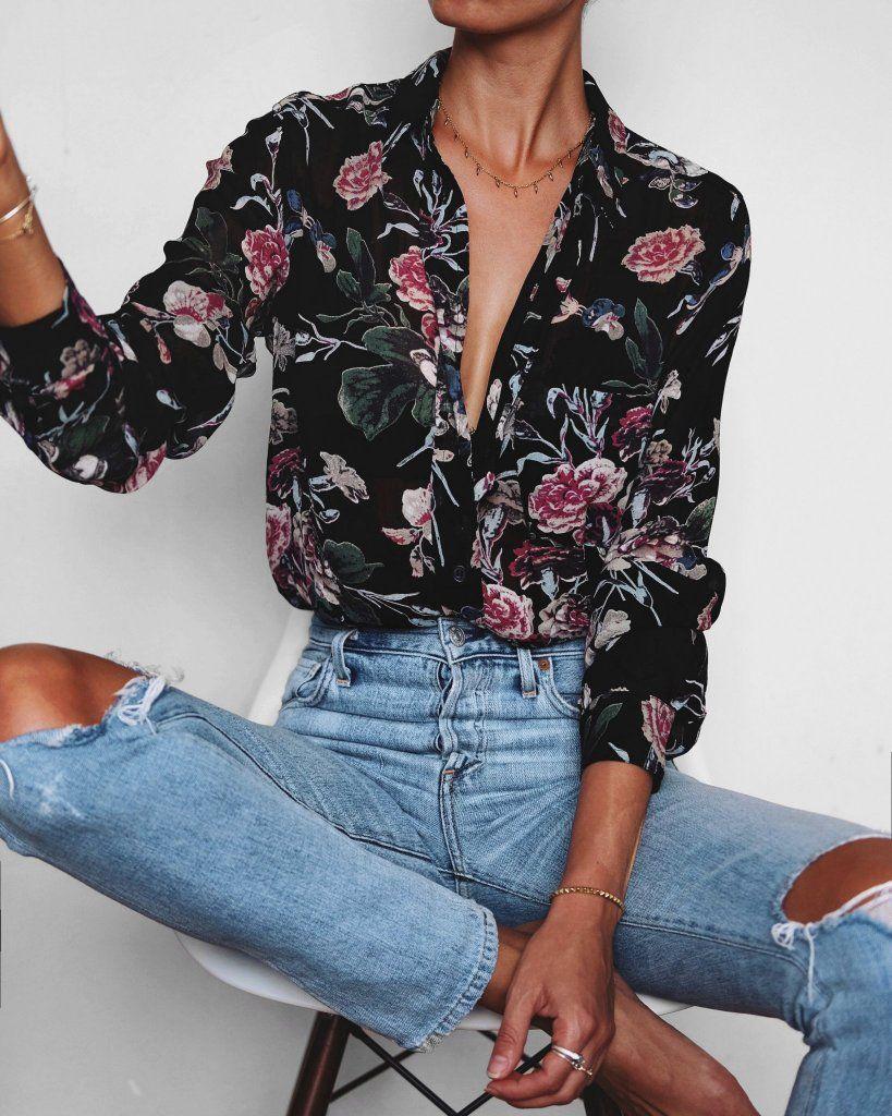 3b017d39026ff Black Floral Print V Neck Flare Sleeve Wrap Blouse in 2019