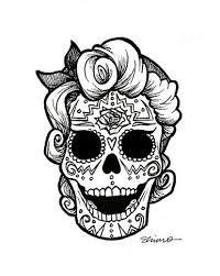 Resultado De Imagen Para Rockabilly Black And White Clipart Skull Skull Coloring Pages Sugar Skull Tattoos
