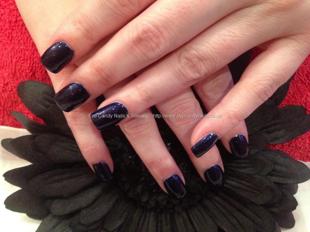 Acrylic nails with dark blue polish | Nails | Pinterest
