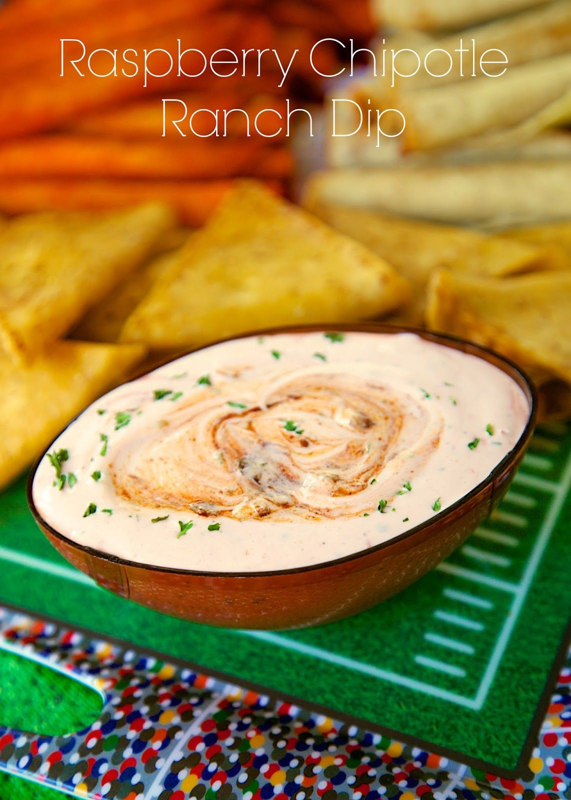 Raspberry Chipotle Ranch Dip - super addictive! Great as a dip, but also great as a salad dressing!