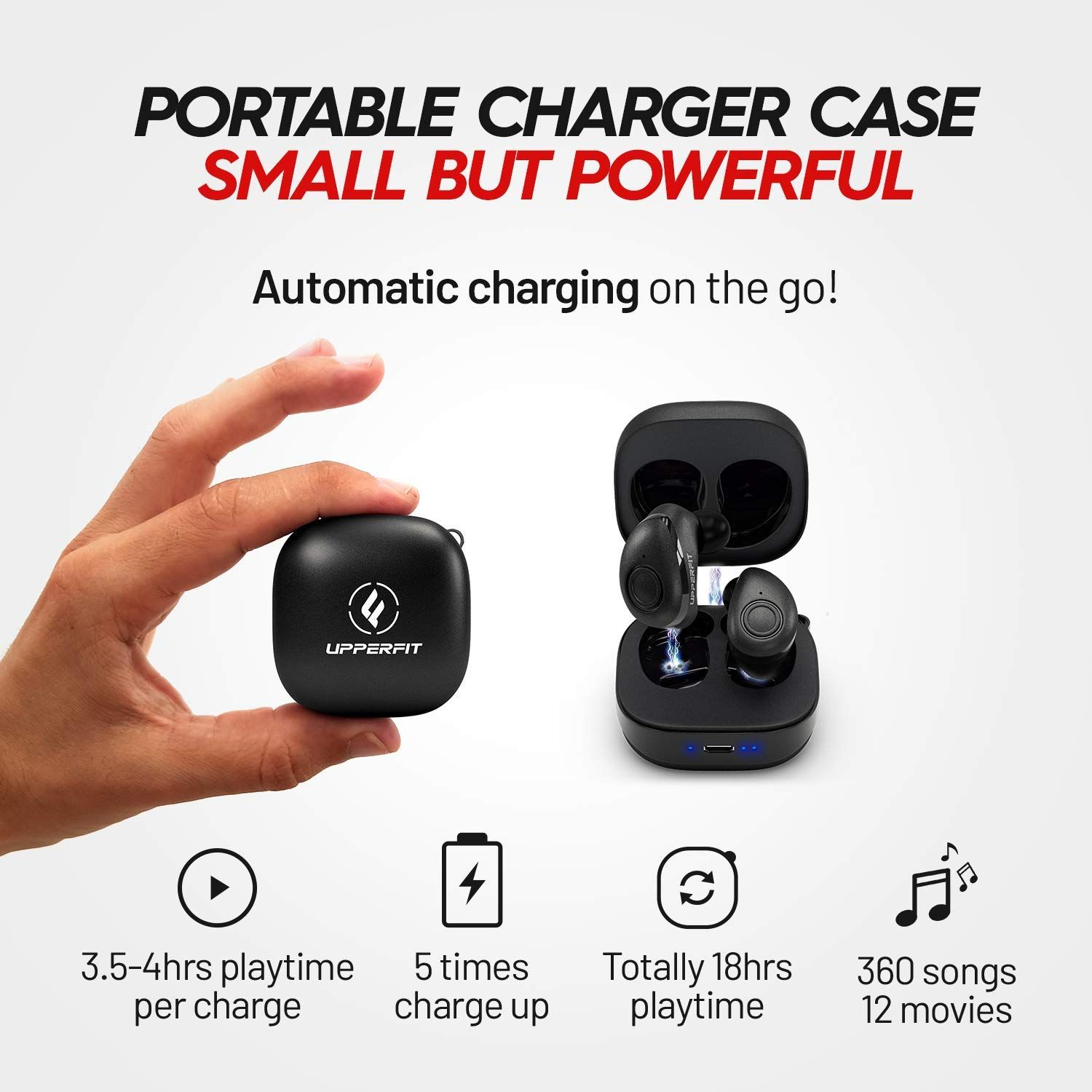 Amazon Com True Wireless Earbuds Headphones Superior 3d Stereo Sound 5 0 Mini In Ear Bluetooth Earbuds 18hr Play Time Sweatproof Sports Earphones Headset