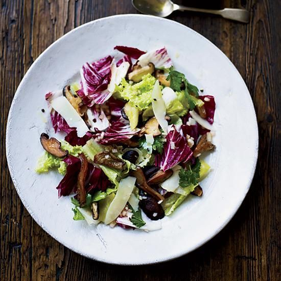 Warm Chicory Salad with Mushrooms | For this hearty salad, Marjorie Taylor sautés fresh wild mushrooms, but occasionally, she substitutes sliced pears.