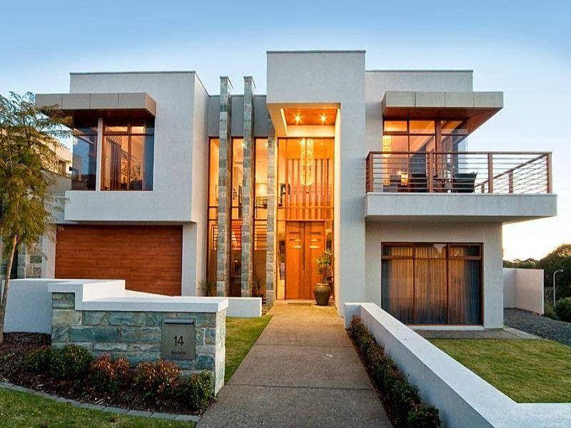 casa moderna de concreto exterior con balcn e iluminacin fachada de casas