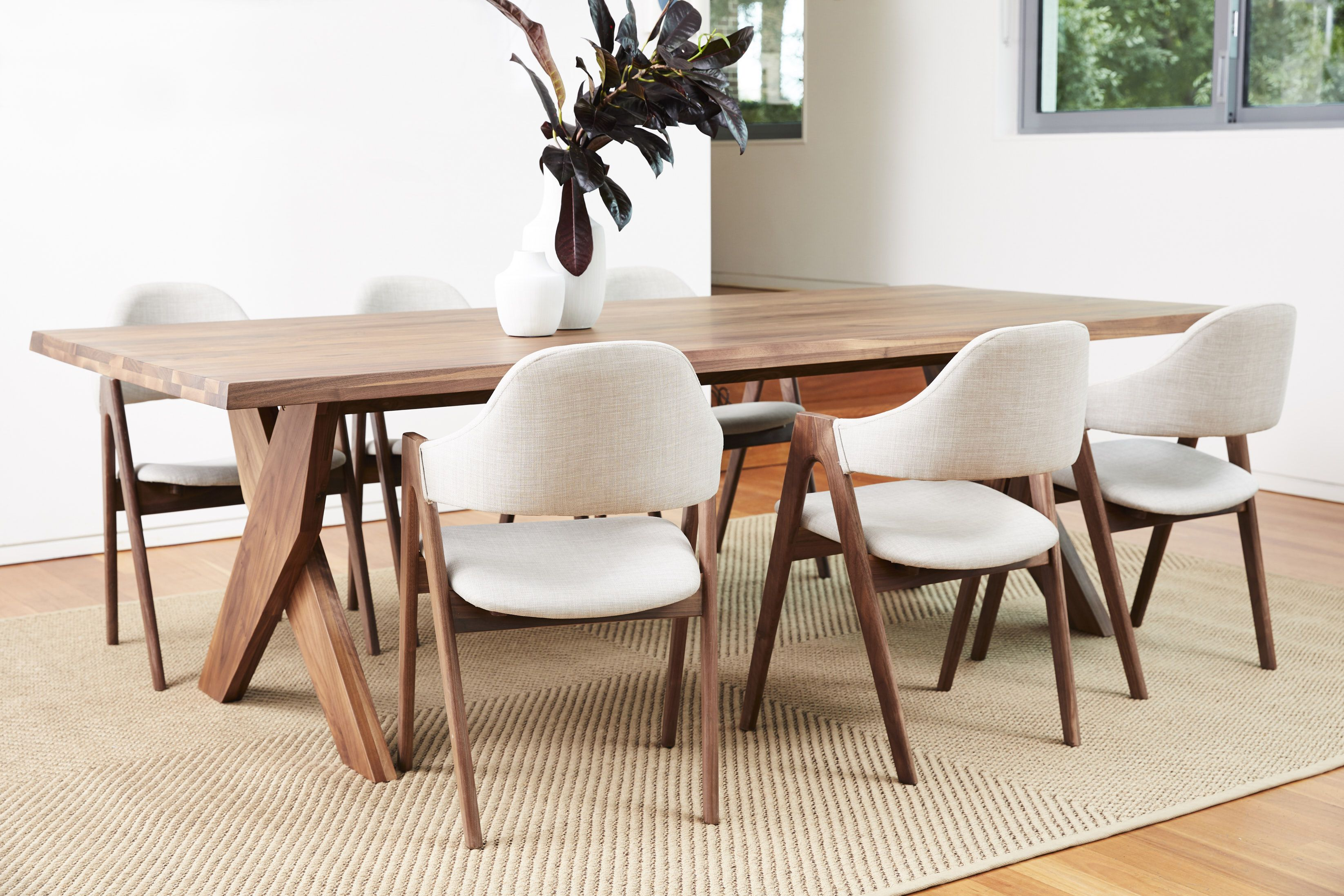 Axel Dining Table With Off White Nestor Chairs In American Walnut Midcentury Modern Dining Table Scandi Dining Room Traditional Dining Tables