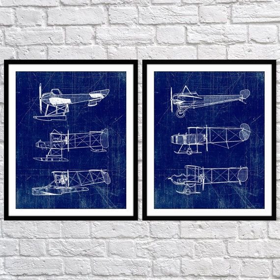 Airplane art print plane art blueprint wall art aviation set of airplane art print seaplane plane art blueprint wall art aviation set of two 5x7 8x10 11x14 boys wall decor transportation print malvernweather Gallery