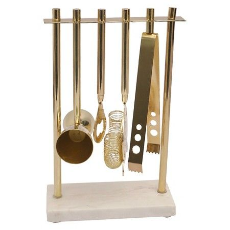 Target Threshold Marble And Gold Barware Set