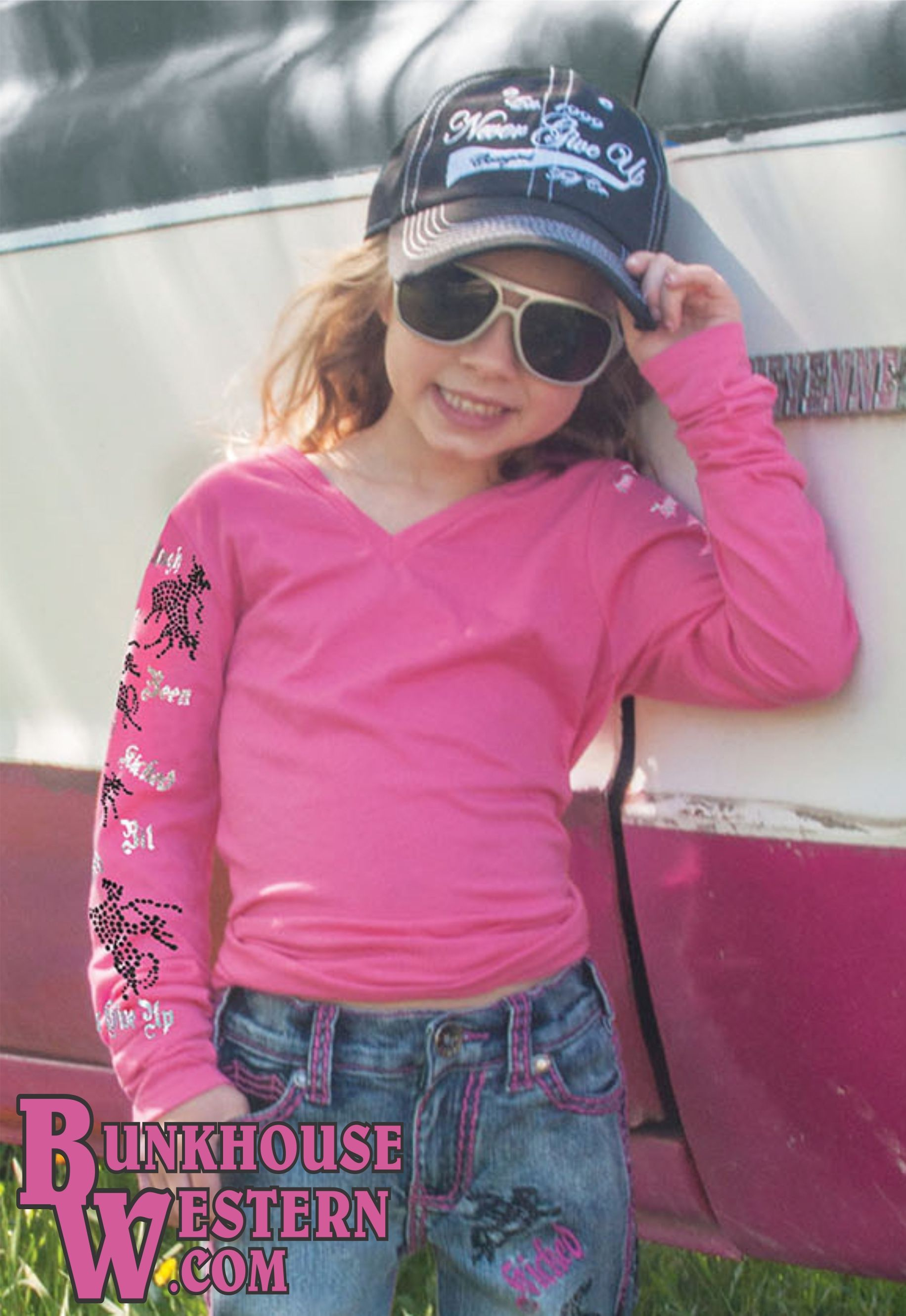 Cowgirl Tuff Company Little Girls' Pink Buckin Horse Tee, Goes great with Unbelievably Pink Jeans, Bronc Riders, Youth Western Clothing, Kids Rodeo Wear, $29.99, http://www.bunkhousewestern.com/445_p/000445.htm
