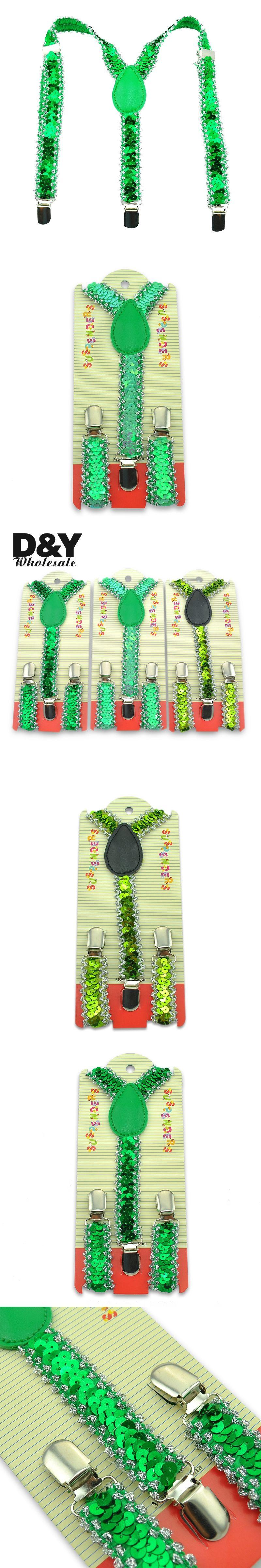 Fashion New Kids Suspenders Small Sequin Green Boys Braces Children ...