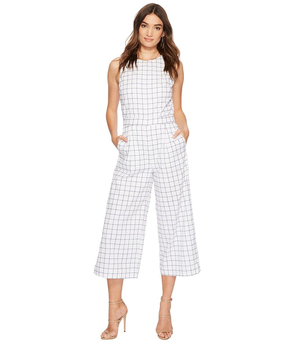 7318ffbd1acf J.O.A. Grid Print Sleeveless Jumpsuit with Open Back Women s Jumpsuit    Rompers One Piece Off-White