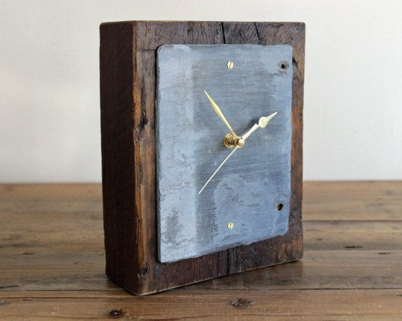 Rustic Mantel Clock Salvaged Wood And Slate 17 005 Clock Rustic Wood Rustic Mantel