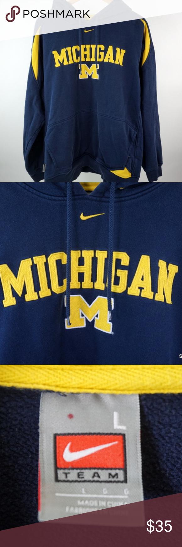 Team Nike Michigan Wolverines Hooded Sweatshirt Lg Sweatshirts Hooded Sweatshirts Michigan Wolverines [ 1740 x 580 Pixel ]
