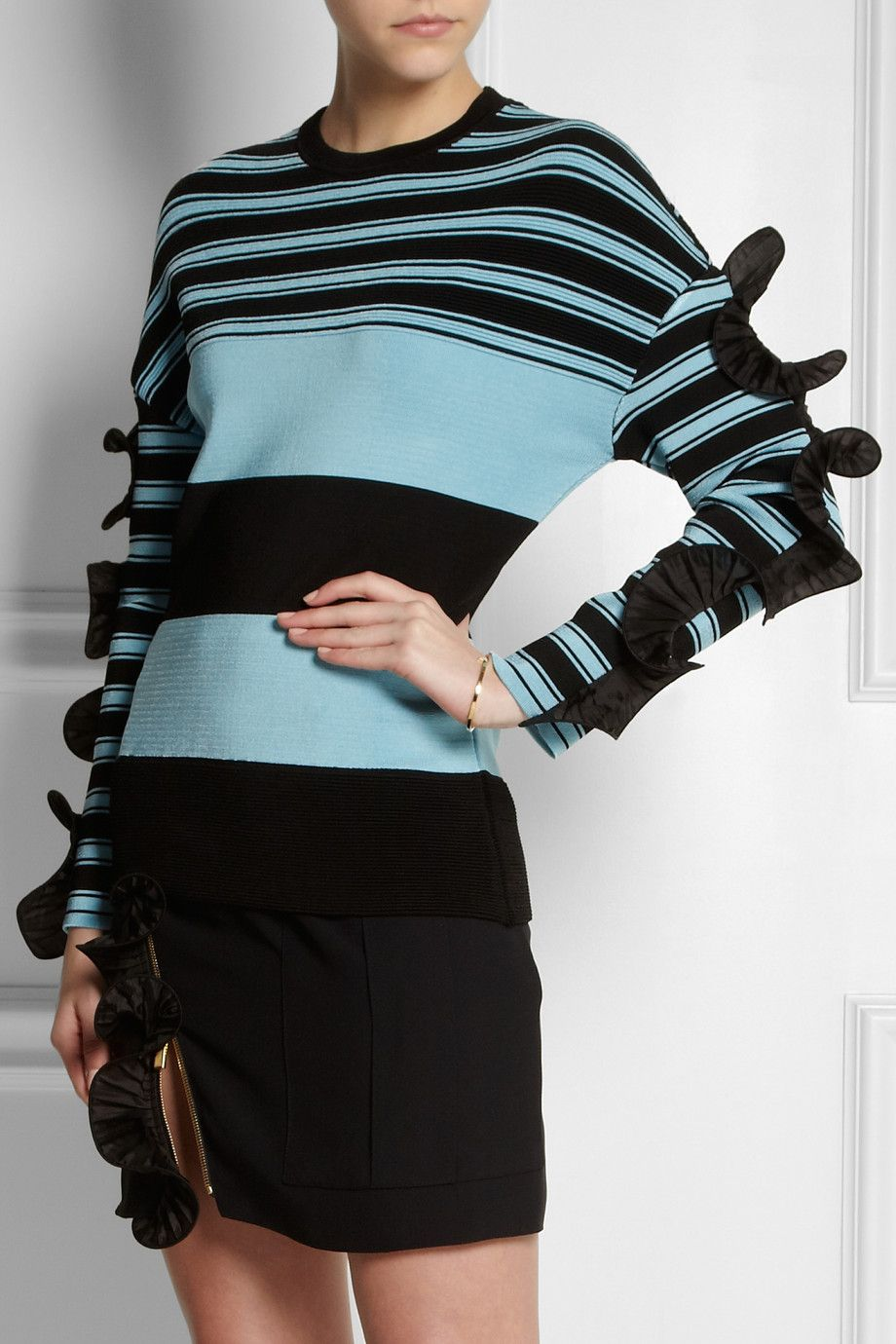 Emanuel Ungaro | Ruffle-trimmed striped ribbed-knit sweater