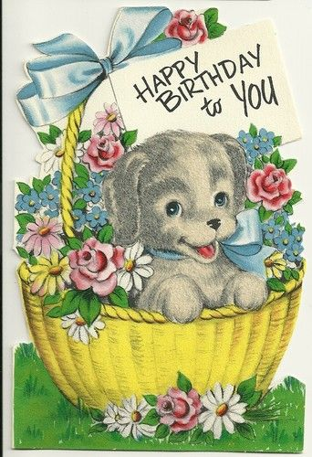 Vintage Happy Birthday Stanley Greetings Card Used Flocked Puppy In